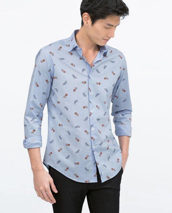 Phối đồ áo sơ mi nam họa tiết nhỏ với quần jean giúp bảnh bao, năng động
