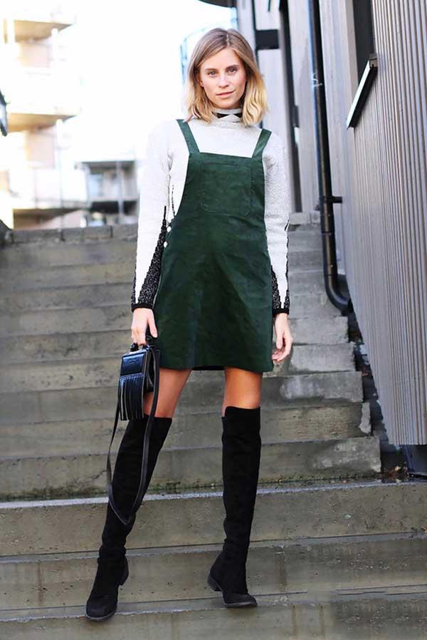 Mặc đẹp mùa đông với set váy yếm