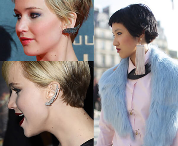 Tóc ngắn là lợi thế để chị em khoe các phụ kiện khuyên tai