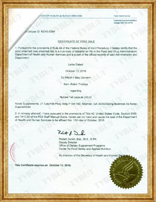 NuBest Tall đã được FDA Hoa Kỳ cấp giấy chứng nhận và cấp phép lưu hành tự do