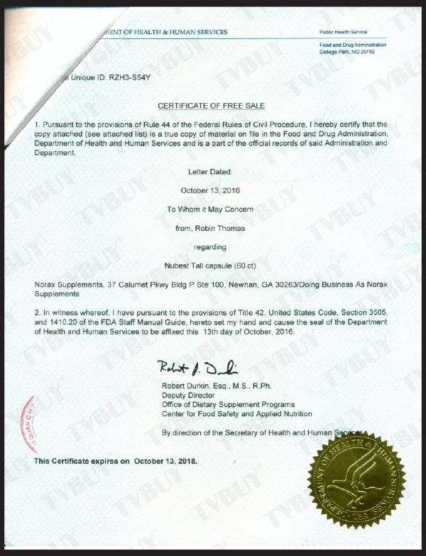 Nubest Tall đã được FDA Hoa Kỳ cấp giấy chứng nhận