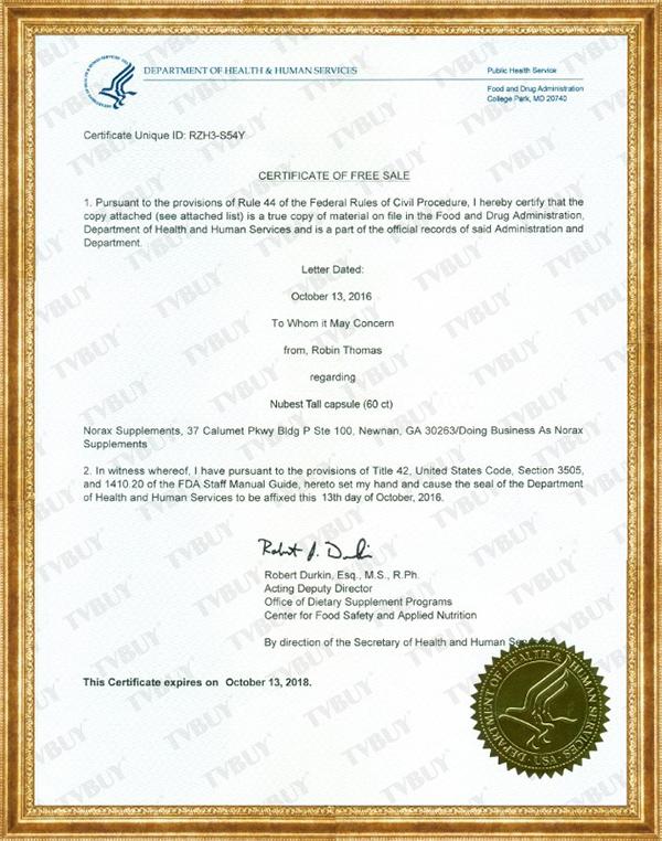 Chứng nhận FDA Hoa Kỳ cho sản phẩm NuBest Tall