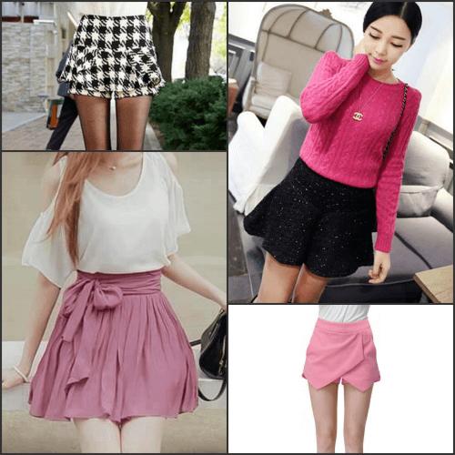 Váy ngắn chân váy cuốn tăng chiều cao