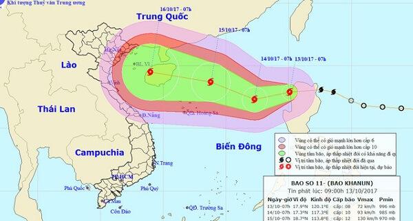 Sơ đồ dự báo hướng đi bão số 11 - Ảnh: Theo Trung tâm Dự báo khí tượng thủy văn trung ương