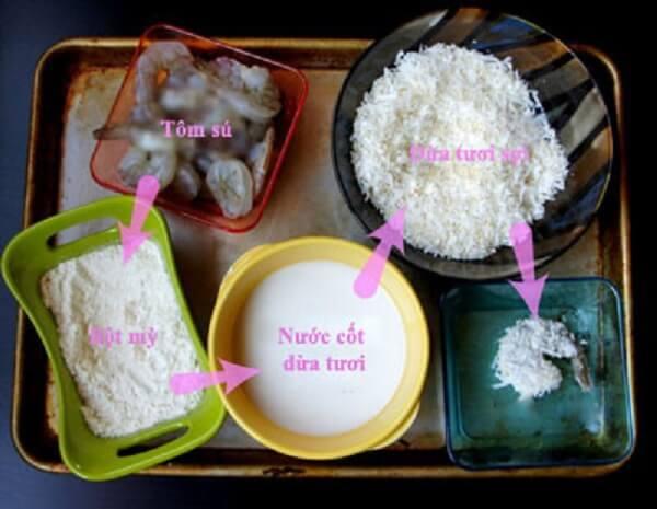 nguyên liệu làm tôm chiên nước dừa