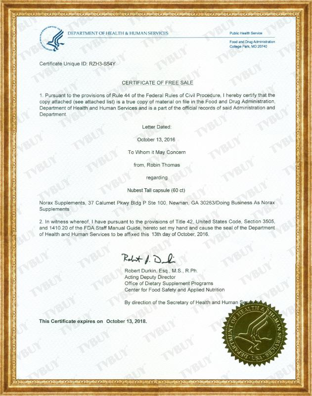 Chứng nhận FDA Hoa Kỳ cho sản phẩm NUBESTALL