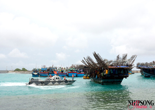 Nhiều tàu thuyền vào huyện đảo Trường Sa tránh bão