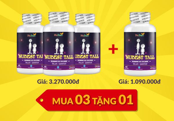 Khi mua 3 hộp NuBest Tall sẽ được khuyến mãi tặng thêm 1 hộp