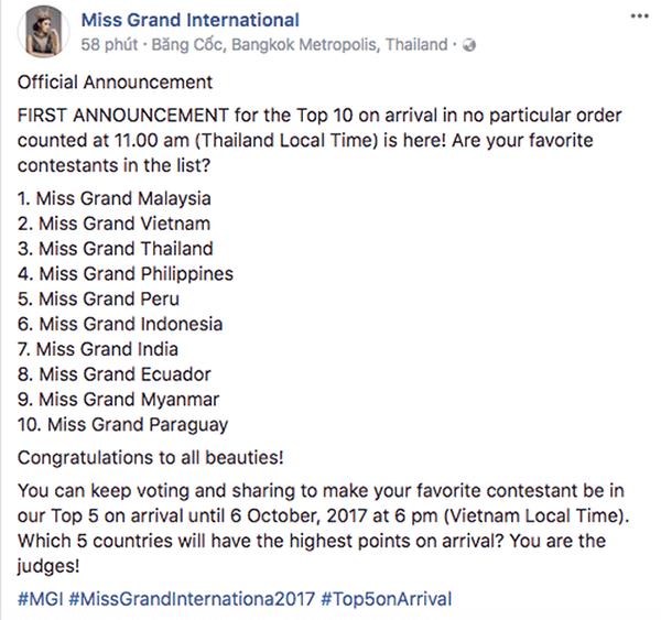 Á hậu Huyền My có mặt trong danh sách Top 10 người đẹp được yêu thích nhất Miss Grand International.