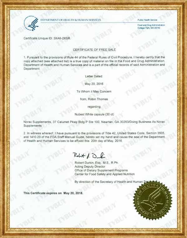 NUBEST WHITE được FDA Hoa Kỳ (Cục quản lý Thực phẩm & Dược phẩm Hoa Kỳ) cấp phép lưu hành tự do tại Mỹ
